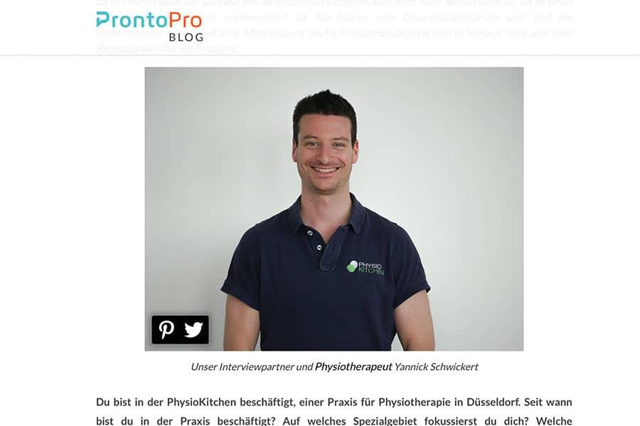 Interview ProntoPro Blog über die PhysioKitchen